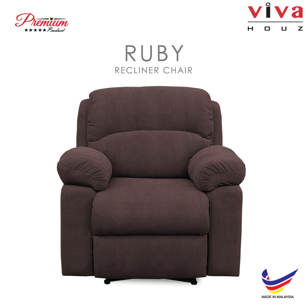 Viva Houz Ruby Single Seat Recliner Chair / Sofa, Full Fabric Cover (Dark Brown)