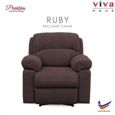 Viva Houz Ruby Single Seat Recliner Chair / Sofa, Full Fabric Cover (Dark Brown)
