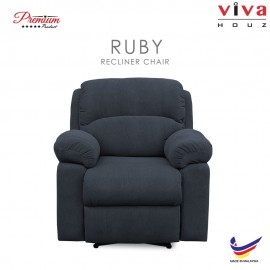 Viva Houz Ruby Single Seat Recliner Chair / Sofa, Full Fabric Cover (Dark Grey)