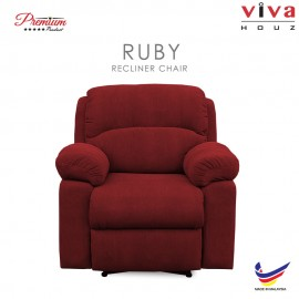 Viva Houz Ruby Single Seat Recliner Chair / Sofa, Full Fabric Cover (Maroon)