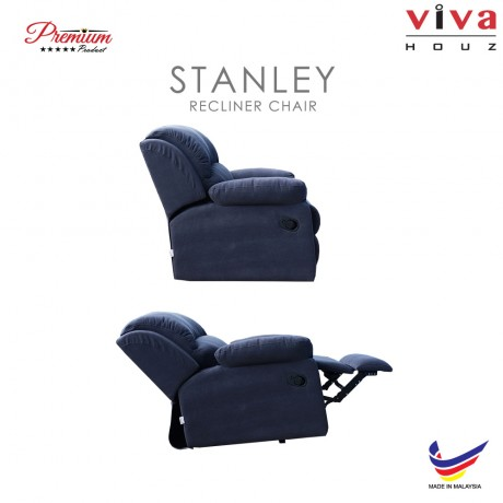 Viva Houz Stanley Single Seat Recliner Chair / Sofa, Velvet Feel Fabric Imported From Japan (Dark Grey)