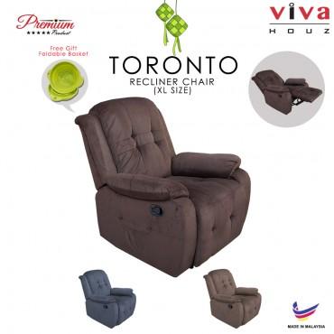 Viva Houz Toronto Single Seat Recliner Chair, Sofa, Full Fabric Cover (Dark brown)