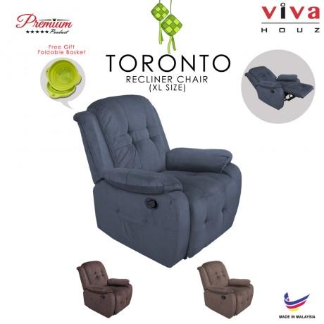 Viva Houz Toronto Single Seat Recliner Chair, Sofa, Full Fabric Cover (Dark Grey)
