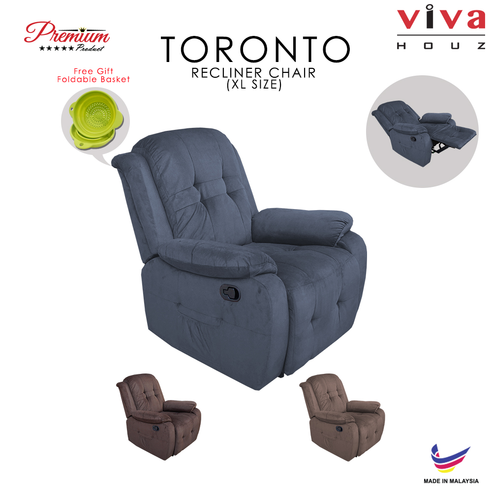 Viva Houz Toronto Single Seat Recliner Chair, Sofa, Full Fabric Cover (Dark Grey)