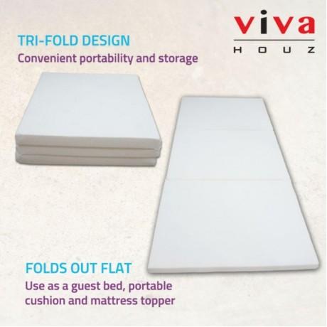Viva Houz, Single Tri-Fold Latex Mattress, ±6.60 Kg, OEM, Made In Malaysia