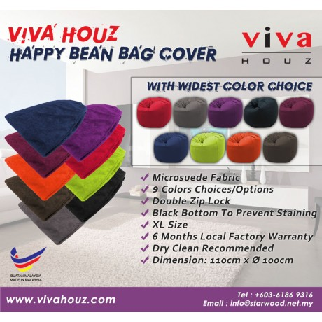Viva Houz Happy Bean Bag Cover, XL Size, Imported Microsuede Cover (Black)