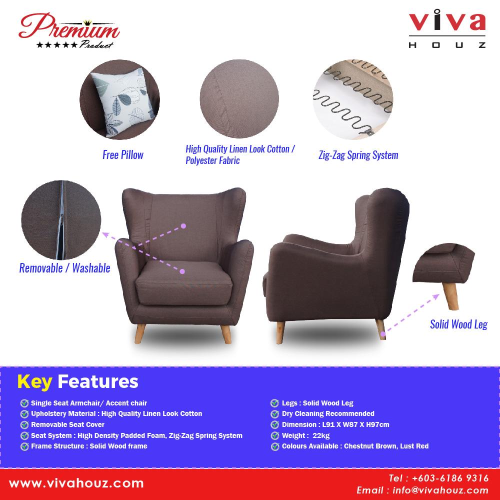 Pleasant Viva Houz Alden Single Seat Armchair Accent Chair Sofa Lust Gamerscity Chair Design For Home Gamerscityorg