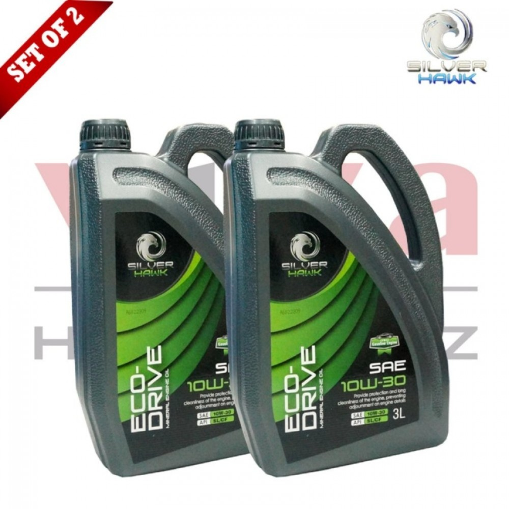 Silver Hawk Mineral Engine Oil ,SAE 10W-30, API SL/CF, 3 Liters, (Set of 2) Made In Malaysia