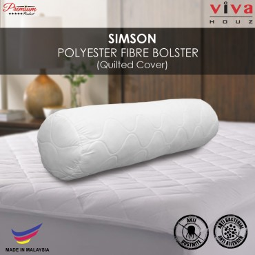 Viva Houz Simson Polyester Fibre Bolster/Pillow, Quilted Cover , Size (L90cm x Ø20cm)