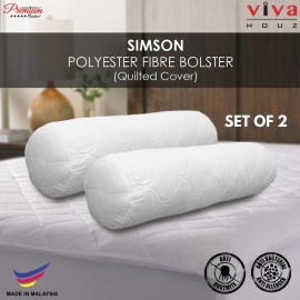 Viva Houz Simson Polyester Fibre Bolster/Pillow, Quilted Cover , Size (L90cm x Ø20cm) (Set of 2)