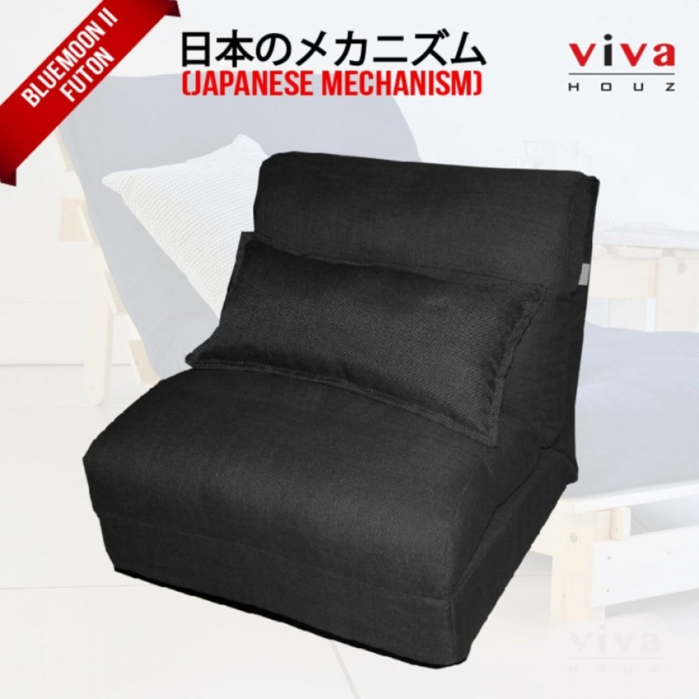 viva houz bluemoon ii futon sofa chair made in malaysia black