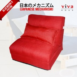 Viva Houz Bluemoon II  Futon/ Sofa / Chair, Made In Malaysia (Red)