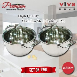 Viva Houz, Heavy Duty 24cm Ø, Stainless Steel Stock Pot, Cooking Pot with Tempered Glass Lid (Set of 2)