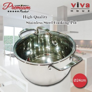 Viva Houz, Heavy Duty 24cm Ø, Stainless Steel Stock Pot, Cooking Pot with Tempered Glass Lid