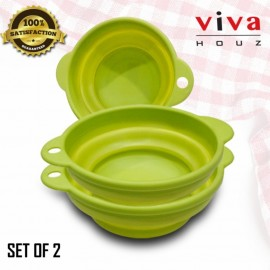 Viva Houz Foldable Kitchen Silicone Basket, Bowl, Bucket, Container For Food (Set of 2)