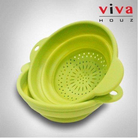 Viva Houz Foldable Kitchen Silicone Basket, Bucket, Colander, Food Strainers For Washing Fruit And Vegetables