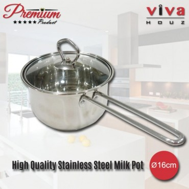 Viva Houz, Heavy Duty Ø16cm , Cooking Pot with Tempered Glass Lid