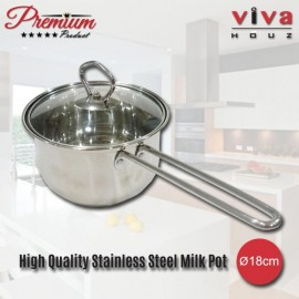 Viva Houz, Heavy Duty Ø18cm , Cooking Pot with Tempered Glass Lid