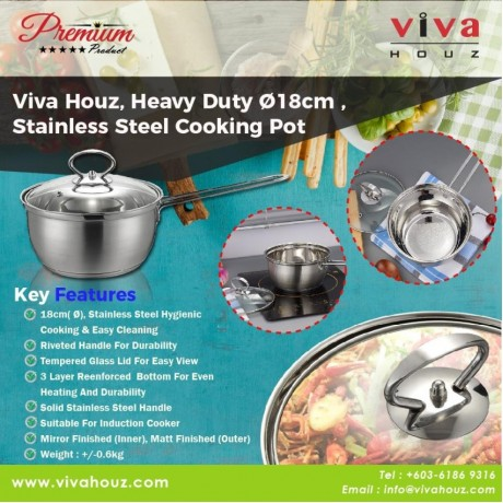 Viva Houz, Heavy Duty Ø18cm , Cooking Pot with Tempered Glass Lid (Set of 2)
