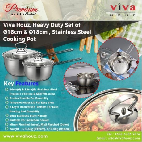 Viva Houz, Heavy Duty Set of Ø16cm and Ø18cm, Set of 2, Cooking Pot with Tempered Glass Lid