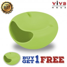 Viva Houz Kitchen Multifunctional Circular Creative Double Layer Candy, Snacks, Food Container With Phone Holder-(Green)