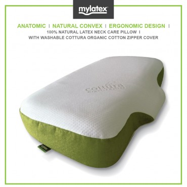 Mylatex Anatomic Pillow 100% Natural Latex Designed For Neck & Shoulder Support Organic Cotton Zipper Cover