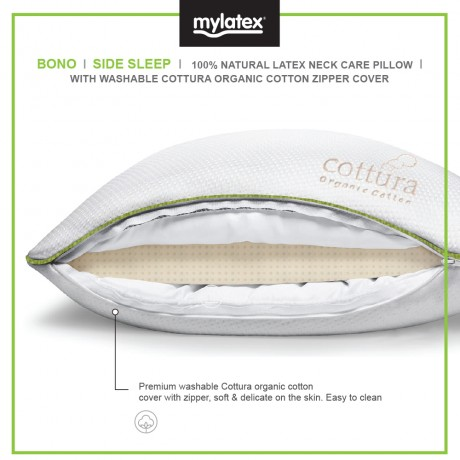 Mylatex Bono Pillow 100% Natural Latex Designed For Side Sleeper Organic Cotton Washable Zipper Cover