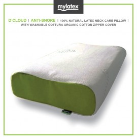 Mylatex D'cloud Pillow 100% Natural Latex Designed For Anti Snore Organic Cotton Zipper Washable Cover