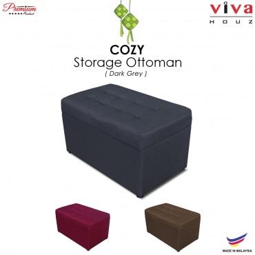 RAYA HOT SELLING : VIVA HOUZ - COZY Storage Ottoman (Grey)