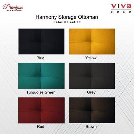 Viva Houz Harmony Storage Ottoman  Pouffe  Bench Sofa Blue