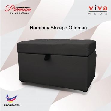 Viva Houz Harmony Storage Ottoman  Pouffe  Bench Sofa Grey