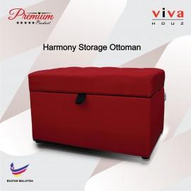 Viva Houz Harmony Storage Ottoman  Pouffe  Bench Sofa Red