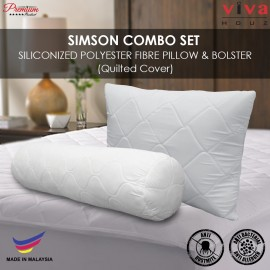 Viva Houz Simson Siliconized Polyester Fibre Pillow & Bolster Combo Set, Quilted Cover