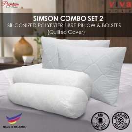 Viva Houz Simson Siliconized Polyester Fibre Pillow & Bolster Combo Set, Quilted Cover (Set of 2)