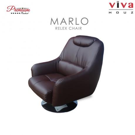 Viva Houz Marlo 360 Degree Swivel Relax Chair, Half Leather (Dark Brown)