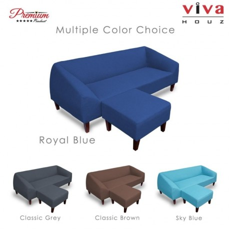 Viva Houz Lunna Sofa, 3 Seater Sofa With Stool, L Shape Sofa, Living Room Sofa, Sectional Sofa (Royal Blue)