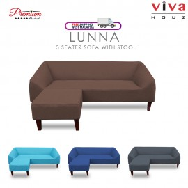 Viva Houz Lunna Sofa, 3 Seater Sofa With Stool, L Shape Sofa, Living Room Sofa, Sectional Sofa (Classic Brown)