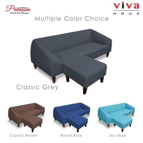 Viva Houz Lunna Sofa, 3 Seater Sofa With Stool, L Shape Sofa, Living Room Sofa, Sectional Sofa (Classic Grey)