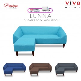 Viva Houz Lunna Sofa, 3 Seater Sofa With Stool, L Shape Sofa, Living Room Sofa, Sectional Sofa (Sky Blue)