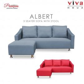 Viva Houz Albert Sofa, 3 Seater Sofa With Stool, L Shape Sofa, Living Room Sofa, Sectional Sofa (Light Grey)