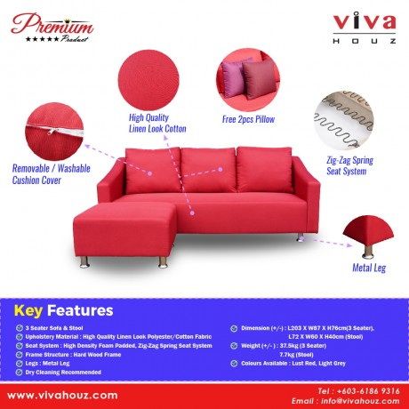 Viva Houz Albert Sofa, 3 Seater Sofa With Stool, L Shape Sofa, Living Room Sofa, Sectional Sofa (Lust Red)