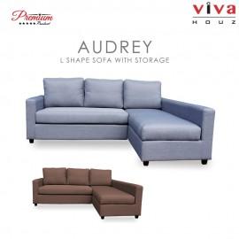 Viva Houz Audrey L Shape Sofa With Storage, Living Room Sofa, Sectional Sofa (Light Grey)