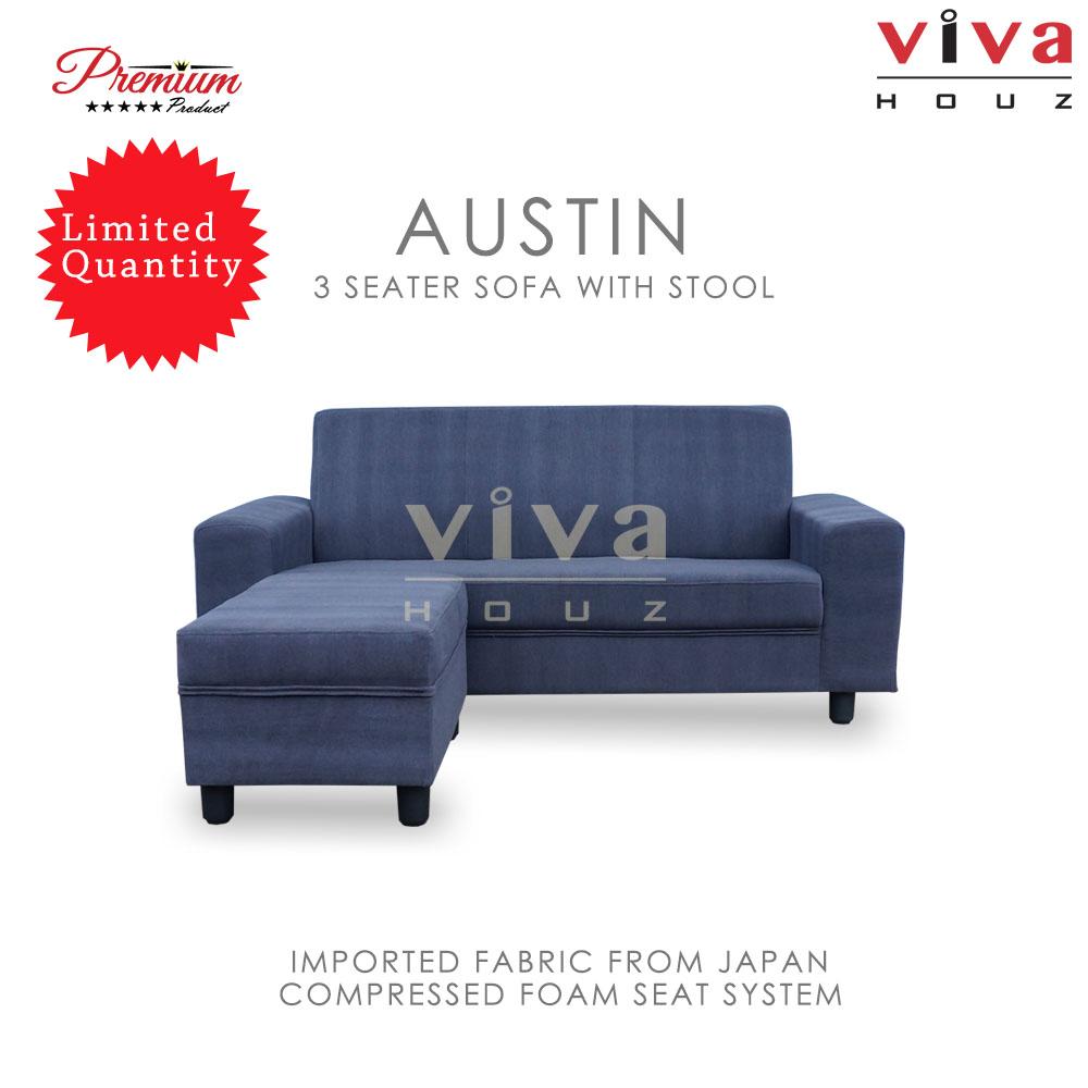 Viva Houz Austin 3 Seater Sofa With Stool, L Shape Sofa, Living Room Sofa, Sectional Sofa (Dark Grey)