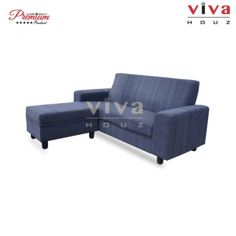 Viva Houz Austin 3 Seater Sofa With Stool, L Shape Sofa, Living Room Sofa, Sectional Sofa (Dark Grey)
