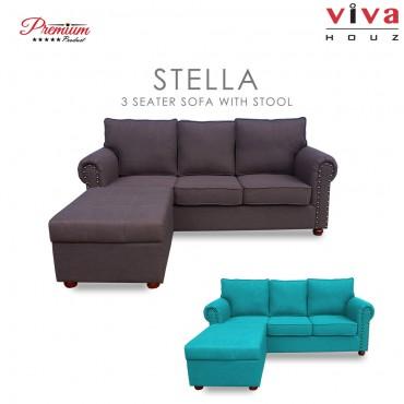 Viva Houz Stella Sofa, 3 Seater Sofa With Stool Storage, L Shape Sofa, Living Room Sofa, Sectional Sofa (Chestnut Brown)