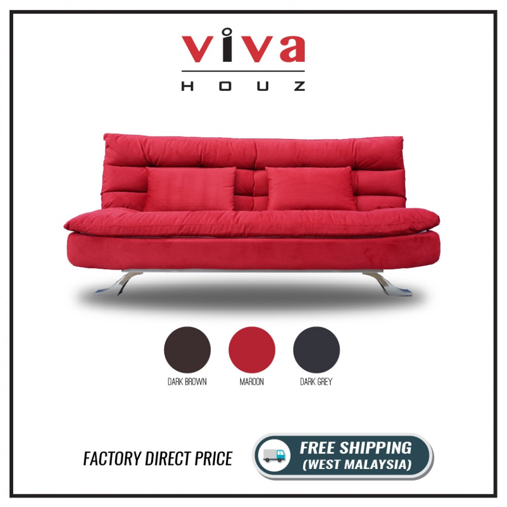 Viva Houz Helena 3 Seater Sofa Bed / Sofa, Full Fabric Removable Cover (Maroon)