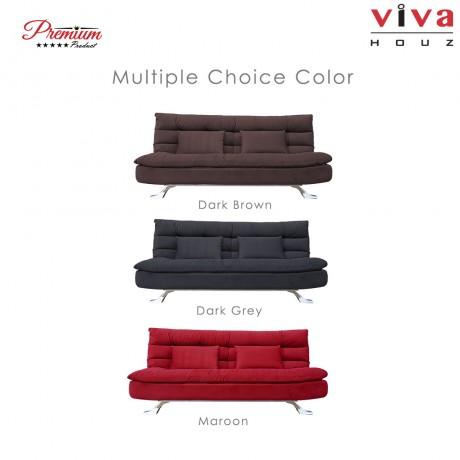 Viva Houz Helena 3 Seater Sofa Bed / Sofa, Full Fabric Removable Cover (Dark Grey)