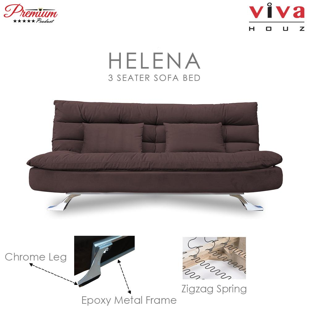 Viva Houz Helena 3 Seater Sofa Bed / Sofa, Full Fabric Removable Cover (Dark Brown)