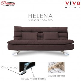 Viva Houz Helena 3 Seater Sofa Bed / Sofa, Full Fabric Removable Cover (Dark Brown)