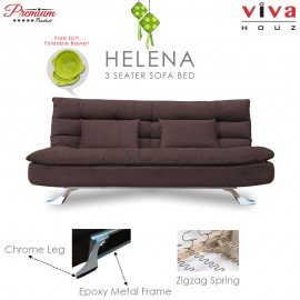 RAYA HOT SELLING : Viva Houz Helena 3 Seater Sofa Bed / Sofa, Full Fabric Removable Cover (Dark Brown)